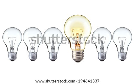light bulbs : turn on big light bulbs in front of turn off bulbs in row, Big idea concept, Bright Creative and leadership concept - stock photo