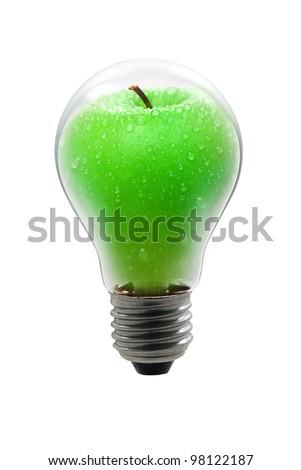 light bulbs with apple - stock photo
