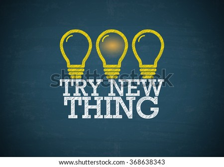 Light bulbs with TRY NEW THING text on blue chalk board , business concept , business idea - stock photo