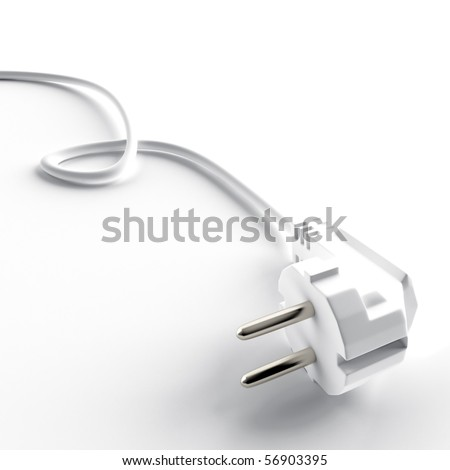 light cable and electric plug on a white background - stock photo