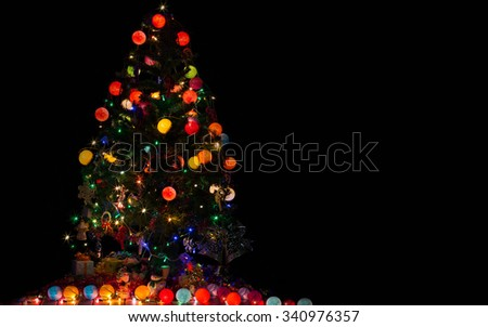 LIght, christmas ball, Decoration merry christmas and happy new year/space for greeting text - stock photo
