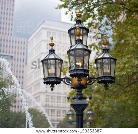 Light colomn at New York square. - stock photo