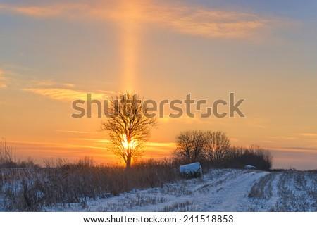 Light column over the sun at sunset.   - stock photo
