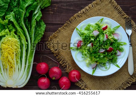 Light diet Spring salad of Chinese cabbage and radish. Vegan dish. The top view. - stock photo