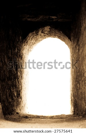 light exit in castle - stock photo