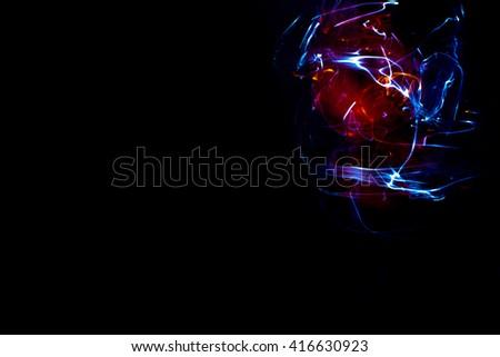 Light eye, light lines on dark background, abstract texture, digital illustration art work. - stock photo