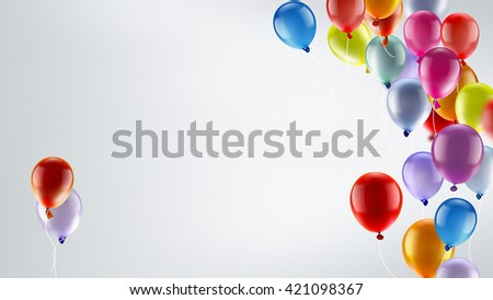 light festive background with bright colorful balloons - stock photo