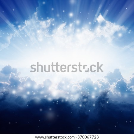 Light from heaven, bright sunlight from skies - stock photo