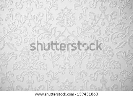 light gray baroque wallpaper background - stock photo