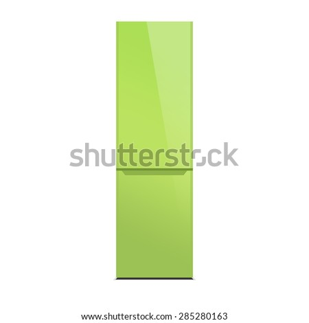 Light green modern refrigerator, colorful design, isolated on white, lime color - stock photo