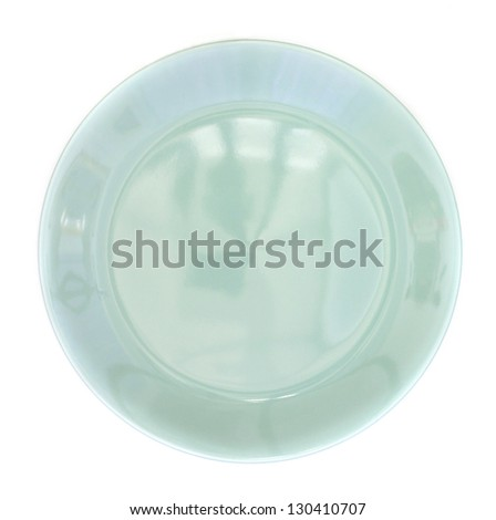 light green plate isolated on white background - stock photo