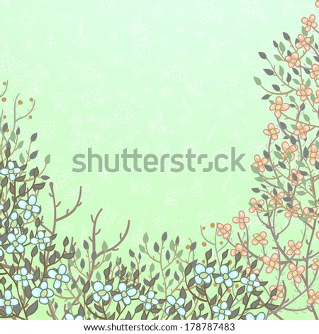 Light green retro floral background with twigs and flowers - stock photo