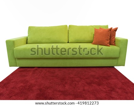 light green sofa with pillows - stock photo