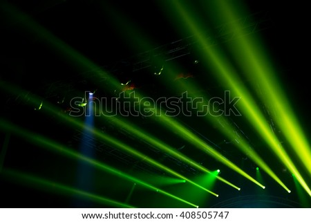 light green spotlights empty stage concert show - stock photo