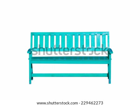 light green wood bench isolated on white background - stock photo