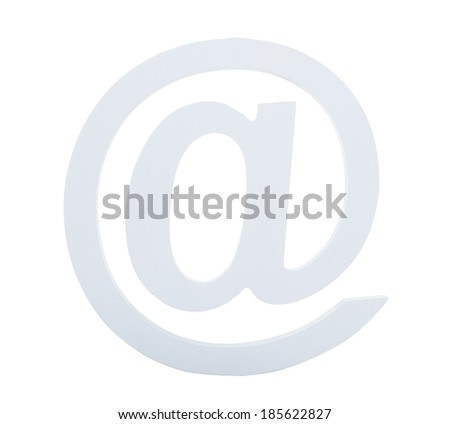 Light grey at sign used in e-mail addresses  symbol of the location or institution of the e-mail recipient  isolated on white background - stock photo