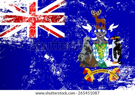 Light grunge effect flag of South Georgia and the South Sandwich Islands. Raster version. - stock photo
