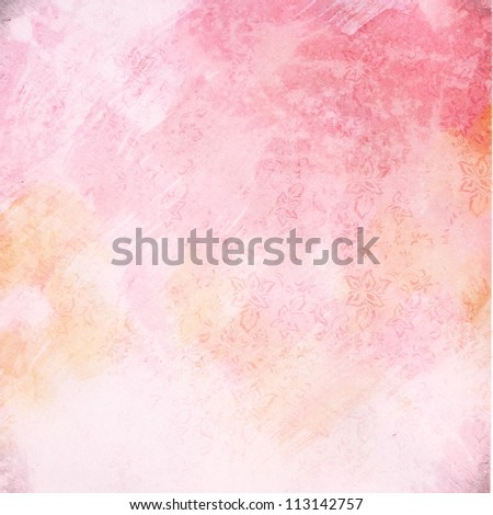 light grunge pink paint background texture with floral pattern - stock photo