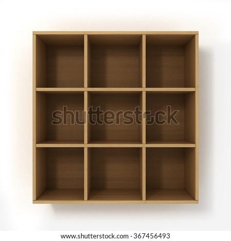 light hanging bookshelf isolated on white background - stock photo