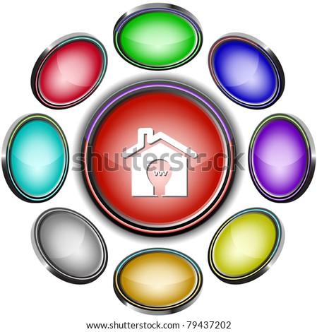 Light in home. Internet icons. Raster illustration. - stock photo