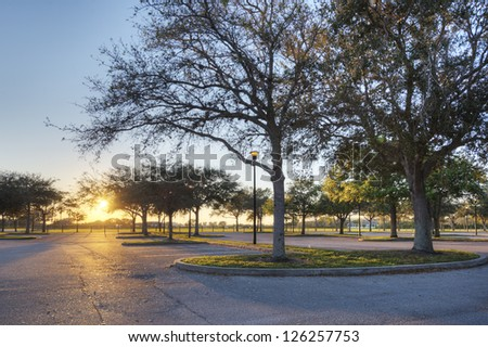 Light in Parking Lot - stock photo