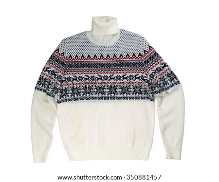 Light knitted sweater with a pattern deer. Isolate on white. - stock photo