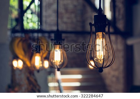 light lamp electricity hanging decorate home interior in christmas day - stock photo