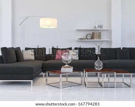 Light living room interior with modern black couch / coffe table - stock photo