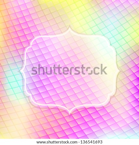 Light Magenta Yellow Pink Shiny Card with Label. Glowing Background - stock photo