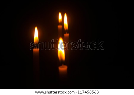 Light of candles on back background./Light of candles./Thailand. - stock photo