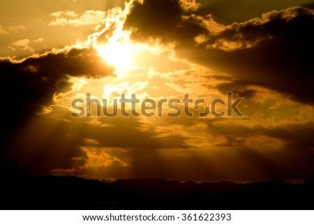 light of heaven from dark sky - stock photo