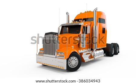 Light Orange american truck isolated on white background - stock photo