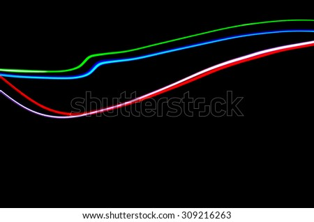 Light Painting Lines of Colour - stock photo