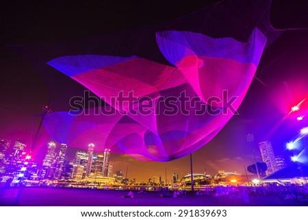 light panorama in Singapore 2014 - stock photo