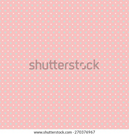 Light pastel polka dot pattern, in white with trendy coral pink and mint green. It has small white spots and larger mint spots against a coral background. Seamlessly repeating background pattern. - stock photo