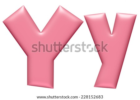 Light pink ABC, letter Y isolated on white background  - stock photo