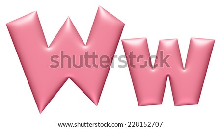 Light pink letter W isolated on white background  - stock photo