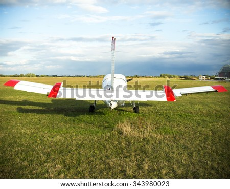 light plane on airport - stock photo