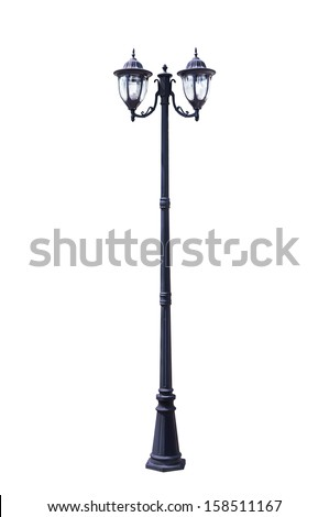 Light pole isolated on white background with clipping path  - stock photo