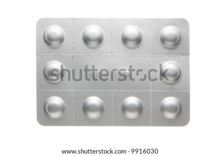 Light-proof pills pack isolated over white background - stock photo