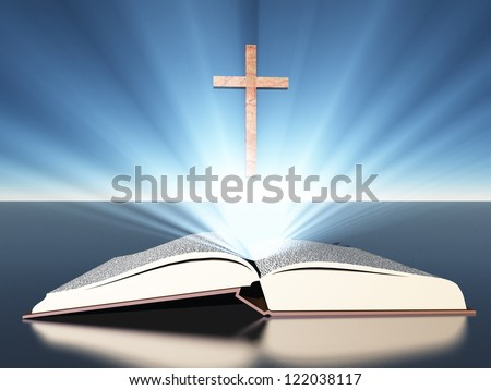 Light radiates from bible under cross - stock photo