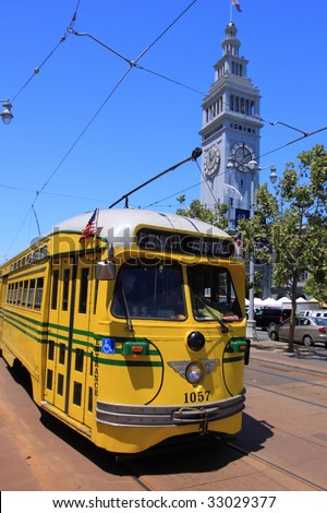 Light rail at Farmer's Market - stock photo