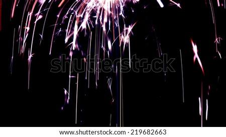 Light rain, sparkler - stock photo
