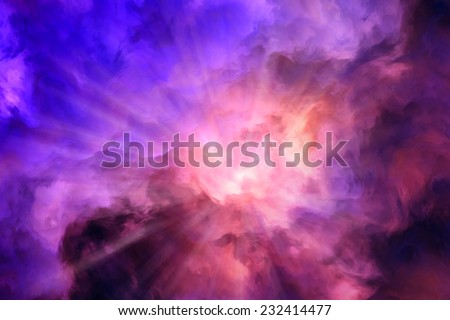 Light rays burst from roiling red and yellow clouds pushing aside calmer blue clouds.  Illustration representing intense energy, creation.  - stock photo