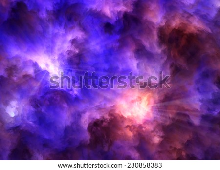 Light rays burst from turbulent, surreal, blue and purple and red and yellow clouds as they collide symbolizing a range of concepts such as creation, the birth of stars, or an ominous maelstrom.  - stock photo