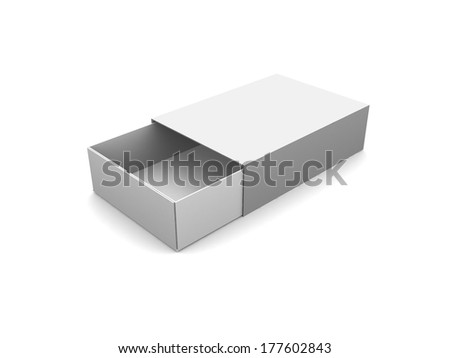 Light Realistic Package Cardboard Sliding Box Opened. For small items, matches, and other things. - stock photo