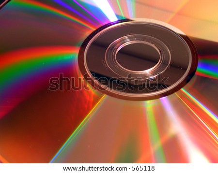 Light reflected from DVD Computer Disc - stock photo