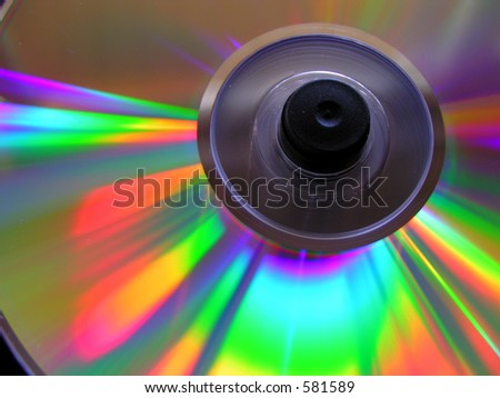 Light Reflections from a DVD - stock photo