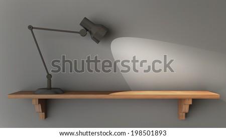 Light shines on an empty wooden shelf - stock photo