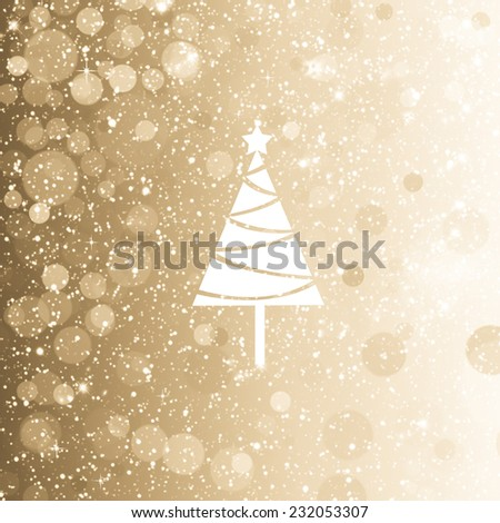 light silver gold background for winter with cristmas tree - stock photo
